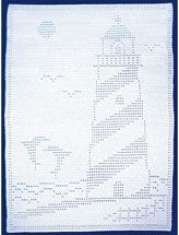Easy Filet Lighthouse With Dolphins Afghan