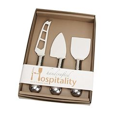 A rounded knife for soft cheeses, a bell knife for hard cheeses, and a fork-tipped spear for both cutting and serving. With this set of cheese knives, you'll be prepared to host your next classy soiree. Or give them as a gift to anyone who loves to host parties. Our handmade items are... see more details at https://bestselleroutlets.com/home-kitchen/kitchen-dining/cutlery-knife-accessories/specialty-knives/product-review-for-gift-set-of-three-stainless-steel-cheese-tools