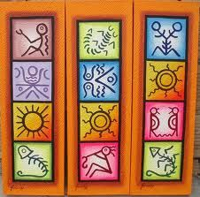 Love the colors and designs Emoji Images, Native Design, Principles Of Art, Small Canvas, Tile Art, Line Design, Stone Painting, Clay Art, Doodle Art