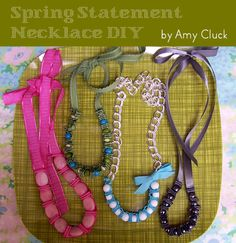 Spring necklace DIY - these are really cute, and can be made for any season. (another blogger I followed to this one tried it out and needed to double ribbon length to get good results) - by A Beautiful Mess