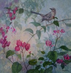 """""""Mockingbird and Bougainvillea"""" by Floy Zittin watercolor on board, size 12x12"""
