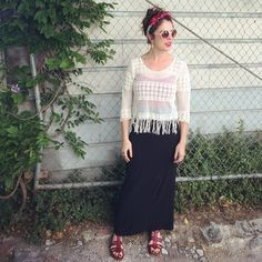 Found sandals. Thrifted high waisted skirt. Clothing swap cream top. Red leo from ballet days. Homemade flower crown. Circle shades. #babachic #sfstreetstyle #flowerchild
