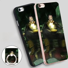 Black Adam Phone Ring Holder Soft TPU Silicone Case Cover for iPhone 4 4S 5C 5 SE 5S 6 6S 7 Plus