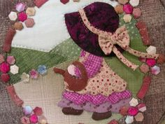 off to water the flowers Wool Applique, Applique Quilts, Embroidery Applique, Embroidery Designs, Patchwork Patterns, Applique Patterns, Quilt Patterns, Sewing Patterns, Crazy Patchwork