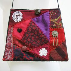 Just moved into the Sale section of my Etsy shop, this little embroidered crazy patchwork purse is just big enough for the essentials on an evening out. Purse, Bag, Handbag, evening, red and purple, crazy quilt, patchwork, boho, bohemian, embroidered, OOAK, one of a kind, SALE by Rethreading on Etsy