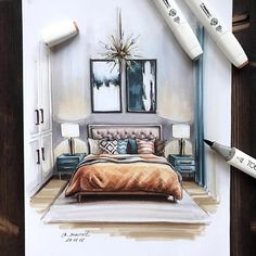 Guest Bedroom. Interior Design Colored Sketches. Click the image, for more art by Ekaterina Suricat.