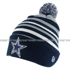 New Era new era dallas cowboys navy blue grey stripe knit men women pom beanie cap hat - Sports Fan Shop - Team Apparel - Men's