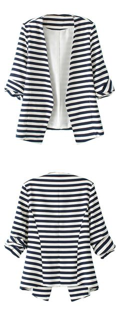 Choies Women's Blue And White Stripes Roll Up Sleeve Slim Blazer Casual Jacket