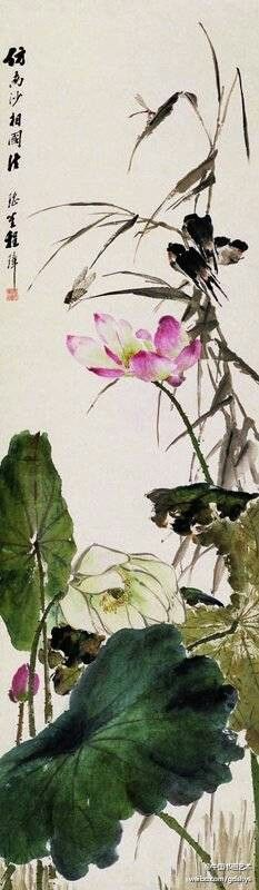 "The traditional Chinese painting Cheng Zhang Cheng Zhang works ""lotus swallow 】 【 as one of the qing dynasty famous painter in Shanghai. The ""lotus swallow"" with no bone drawing, work to write, vivid, and the lotus leaf, flower is very pay attention to the perspective and the expression of stereo feeling, played a write the effect of corner o9ccf water embellish, especially has the feeling of living."