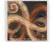 "Swirls Abstract wall art black acrylic Painting on canvas KSAVERA ""Hope"" 20x20"" Original stream Kosmos Contemporary"
