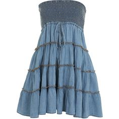 Tiered Midi Bandeau Denim Dres by None, via Polyvore
