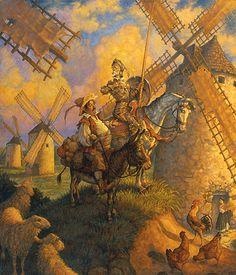 scott gustafson - don quijote y sancho panza Dark Fantasy Art, Fantasy Art Warrior, Paul Bonner, Fantasy Kunst Krieger, Backgrounds Hd, Tilting At Windmills, Man Of La Mancha, Dom Quixote, Don Miguel