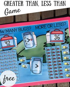 Free greater than, less than game. How many bugs in each jar? Build it and then compare. Motivating two-digit place value practice. Perfect for homeschool or after school practice. File Folder Activities, Math Activities For Kids, First Grade Activities, File Folder Games, 1st Grade Math, Math For Kids, Fun Math, Math Resources, Math Games