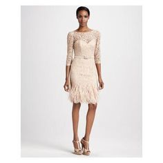 Women's Theia Feather-Hem Lace Cocktail Dress