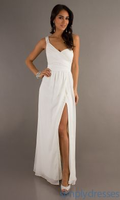 One Shoulder Gown, Long Formal White Dress - Simply Dresses