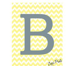 Monogram Chevron Initial Custom wall decor more colors available by Zeppi Prints, $22.00