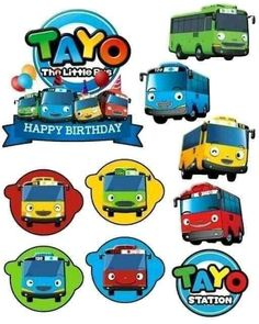 Birthday Cake Toppers, Cupcake Toppers, Tayo The Little Bus, Transportation Party, Doraemon, Muslim, Banner, Happy Birthday, Clip Art