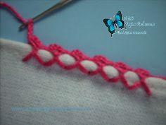 aprendendocrochetrico: Ponto Crochê caseado cruzado para barras de toalhas.
