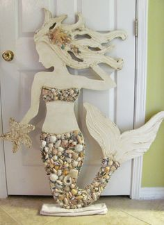 Made to Order Large Hand Made Mermaid Beach Wall Art Mixed Sea shells, Starfish, Textured Sculpture Mosaic, Signage, Sea Siren, Vintage Look