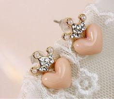 Crown heart-shaped earrings