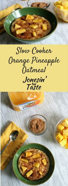 This Pineapple Upside Down Cake inspired Overnight Slow Cooker Orange Pineapple Oatmeal helps get your morning going on the right foot.