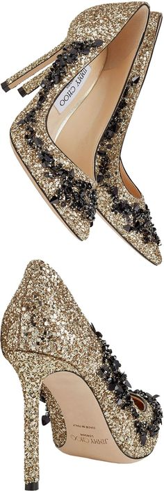 Jimmy Choo ROMY 100 Gold Coarse Glitter Fabric Pointy Toe Pumps with Black Sequin Embroidery #jimmychoo #shoes #afflink #heels #pumps #glitter #gold