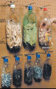 Recycled plastic bottles make for Space-Saving & Cheap Storage organization garage Small Shop Tips: Sawhorse, Space-Saving & Cheap Storage Diy Plastic Bottle, Plastic Pop, Plastic Plates, Uses Of Plastic, Plastic Bags, Recycled Plastic Bottles, Recycle Bottles, Plastic Bag Storage, Ribbon Storage