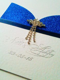 "Royal Blue Glitter Pocket Wedding Invitation ""Crystal"" with Diamante Drop Crystal by CraftyDesignerme on Etsy"