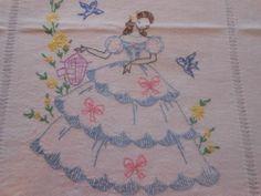 Vtg. Southern Belle Blue Bird Floral Embroidered Table Runner Dresser Scarf - /gloriabyerley/vintage-belles/    BACK!!!