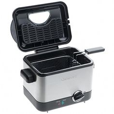 Cuisinart - Compact l Deep Fryer - Features a nonstick die-cast bowl with attached heating element, adjustable thermostat up to 375 degrees, removable charcoal filter and a brushed stainless steel housing. Best Deep Fryer, Compact, Air Fryer Review, Electric Deep Fryer, Magic Chef, Cooking Temperatures, Kitchen Shop, Thing 1, Odor Remover