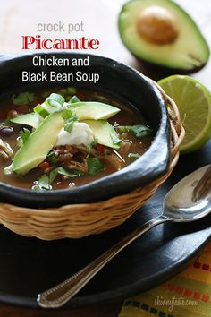 Crock Pot Picante Chicken and Black Bean Soup - If you love a slow cooker recipe that requires no pre-cooking. then you'll love this spicy black bean soup! (half and half recipes crock pots) Crock Pot Slow Cooker, Crock Pot Cooking, Slow Cooker Recipes, Crockpot Recipes, Cooking Recipes, Crock Pots, Chicken Recipes, Healthy Soup Recipes, Skinny Recipes