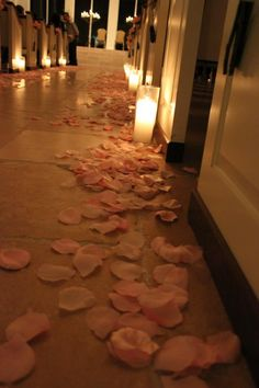 Pretty rose petals and candles to accent our beautiful chapel  - Ashton Gardens Houston