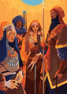 I totally forgot to post the whole thing ! Here's my piece for @sibzine , the Sand Snakes from asoiaf. It was awesome sharing a feature with all those cool folks !