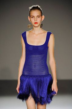 Mark Fast blue fringe dress featured on BINTM 2011