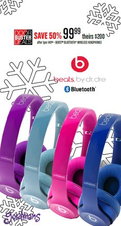 """You can't """"beat"""" this price! Wireless Beats by Dr. Dre on sale for $99.99! Check out our Black Friday ad online now!"""