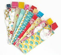10 x Fabric Bookmarks / Handmade Bookmarks / by peonyrosehandmade