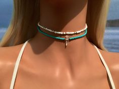 ***This listing is for the turquoise choker, please see my shop for the gold cho… - Beach Jewelry Dainty Diamond Necklace, Diamond Cross Necklaces, Beaded Choker Necklace, Crystal Choker, Bohemian Necklace, Shell Choker, Beaded Chocker, Diy Choker, Gold Bar Necklace