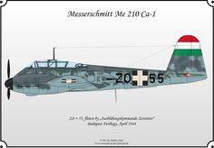 "Messerschmitt Me 210 , This particular Me 210 was flown by Helmut Zittier and Walter Stolz while serving with ""Ausbildungskommando Zerstörer"" in Budapest, Hungary, Fighter Aircraft, Fighter Jets, Ukraine, In Harm's Way, Defence Force, Aviation Art, Luftwaffe, Plastic Models, Military Aircraft"