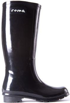 Glossy Black Roma Rain Boots