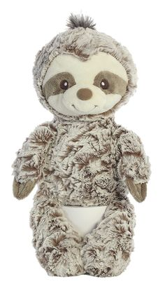 This Sloth by Ebba showcases a neutral palette, appropriate for a boy or girl. Baby Trends - Gift Shop Magazine @EBBA #baby #plush #trends #sloth