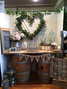 All available for hire at mysweeteventhire .com.au Wine barrels/trestle table top/drink dispensers/mason jars