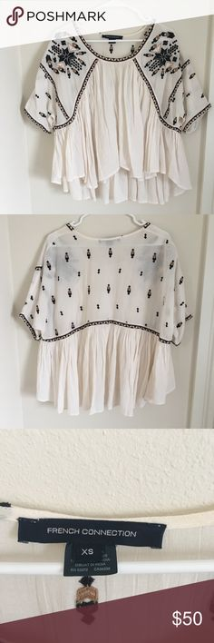 French Connection boho shirt EUC Blousy shirt with ruffle and stitch detail. Perfect for a festival or hot summer day no stains, pulls, or visible wear French Connection Tops Blouses