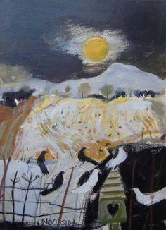 'Winter Moon, Fife' by Christine Woodside (mixed media on board) Pastel Landscape, Landscape Artwork, Abstract Landscape, Abstract Art, Winter Moon, Commercial Art, Paintings I Love, Modern Artists, Panel Art