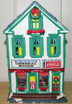 Coca Cola Town Square Christmas Village Lighted Building McMahon's General Store