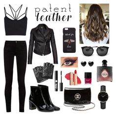 """""""Black leather outfit"""" by hollyjaki ❤ liked on Polyvore featuring Gucci, Sweaty Betty, Barbour International, Karl Lagerfeld, Yves Saint Laurent, Chanel, ROSEFIELD, Charlotte Russe, Prada and Butter London"""