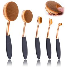 Oval Makeup Brush Set of 5 Pcs Professional Oval Toothbrush Foundation Contour Concealer Eyeliner Blending Cosmetic Brushes Tool Set by Beauty Kate (Rose Gold Black) * Want to know more, click on the image. (This is an affiliate link) #MakeupBrushesTools