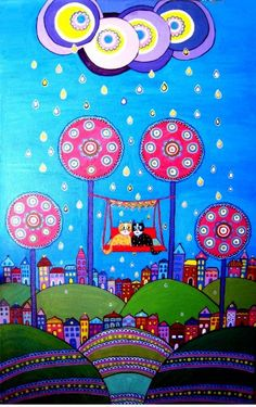 columpiandonos bajo la lluvia Art Haus, Trippy Drawings, Art Gallery, Laurel Burch, Kids Artwork, Color Pencil Art, Naive Art, Fantastic Art, Psychedelic Art