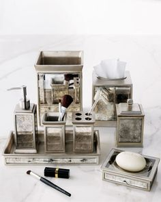 """""""Palazzo Vintage"""" Vanity Accessories by Kassatex at Neiman Marcus. - Designing an Art Deco Bathroom for a  client.  Love the antique glass of these accessories."""