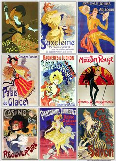 Print of vintage French cabaret posters as my tribute to Jean Paul Gaultier who showcased his final ready-to-wear fashion parade at the Rex Theatre, Paris, on the weekend.