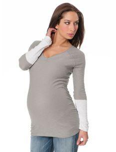 Long Sleeve Colorblock Maternity Sweater